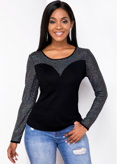 Round Neck Long Sleeve Contrast T Shirt - L
