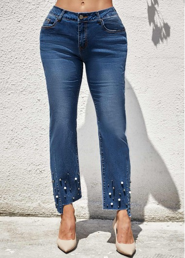 Beads Detail Mid Waist Pocket Jeans - L
