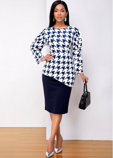Houndstooth Print Round Neck Long Sleeve Dress - L