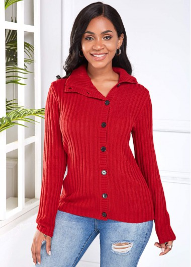 Button Detail Long Sleeve Red Sweater - L