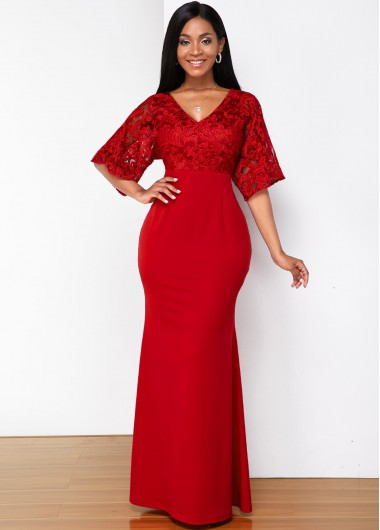 Christmas Holiday Dress Lace Stitching V Neck Butterfly Sleeve Maxi Dress - L