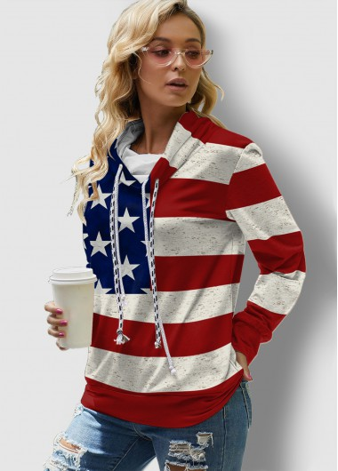 American Flag Print Drawstring Long Sleeve Sweatshirt - L