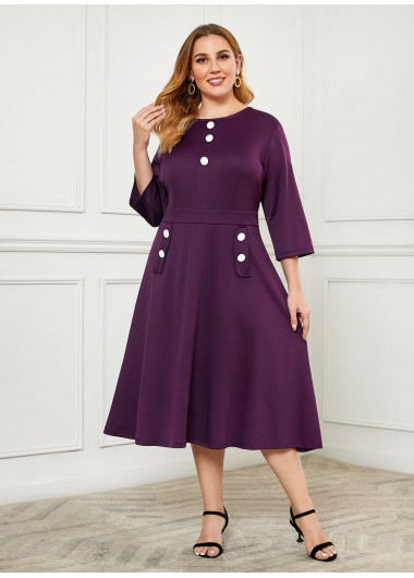 Plus Size Button Detail Side Pocket Dress - 1X