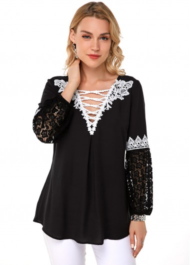 Lace Panel Contrast Three Quarter Sleeve Blouse - L