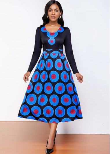 Tribal Print Round Neck Long Sleeve Dress - L