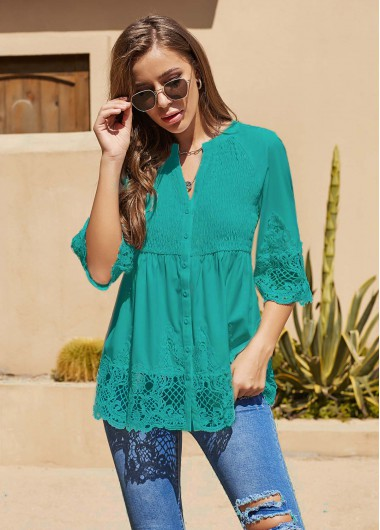 Split Neck Lace Panel Three Quarter Sleeve T Shirt - L