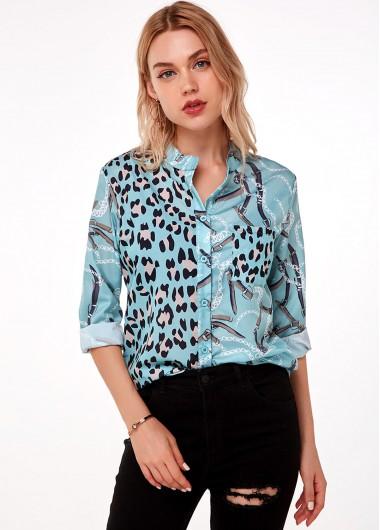 Leopard Button Up Long Sleeve Blouse - L