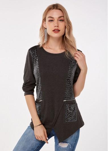 Zipper Detail Asymmetric Hem Pocket T Shirt - L