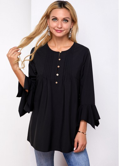Modlily Hanky Cuff Crinkle Chest Button Detail T Shirt - S