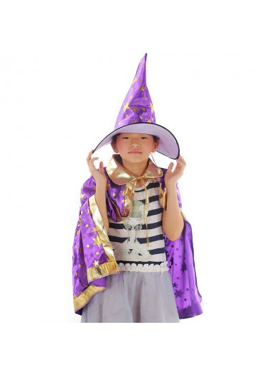 Purple Halloween Cloak and Witch Hat - One Size