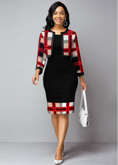 Christmas Holiday Dress Open Front Cardigan and Plaid Print Dress - L