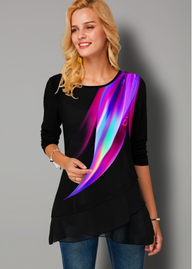 Rainbow Color Printed Round Neck T Shirt - L