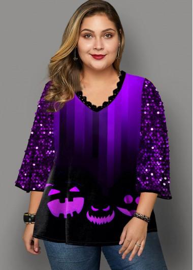 Modlily Plus Size Halloween Print Sequin T Shirt - 3X