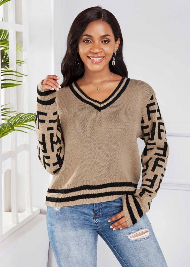 V Neck Striped Long Sleeve Sweater - L