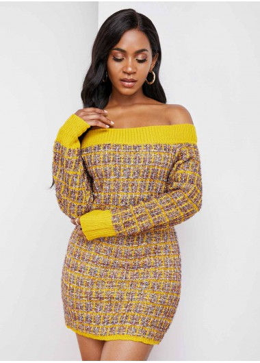 Off Shoulder Contrast Long Sleeve Sweater Dress - L