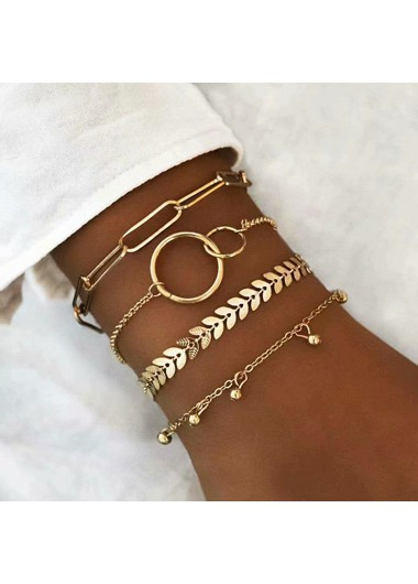 Layered Gold Metal Chain Bracelet Set - One Size