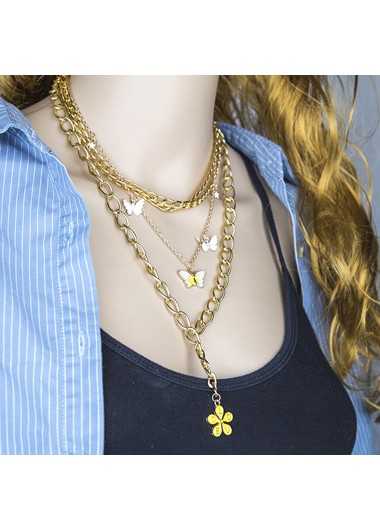 Butterfly Layered Gold Metal Chain Necklace - One Size
