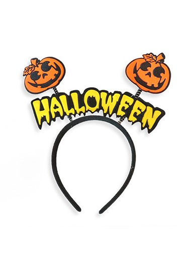 Orange Velvet Cute Halloween Headband - One Size