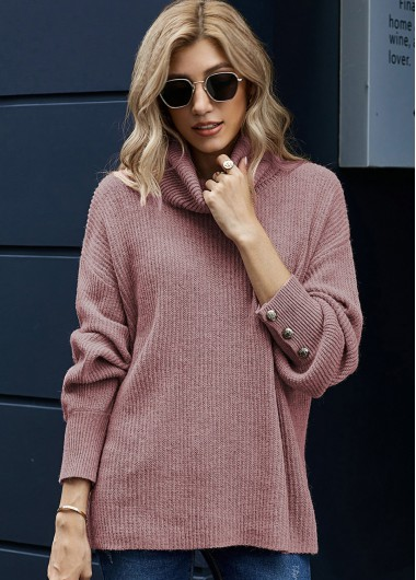Turndown Collar Long Sleeve Button Sweater - XL
