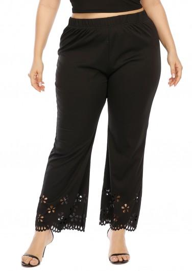 Plus Size Pierced Elastic Waist Pants - 2XL