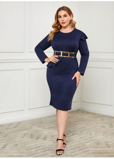 Plus Size Belted Ruffle Trim Dress - 3XL