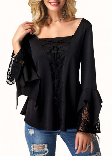 Square Collar Lace Sleeve Witch T Shirt - L