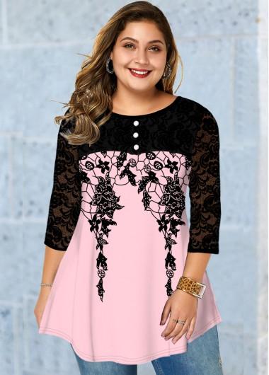 Lace Stitching Button Detail Plus Size Printed T Shirt - 1X