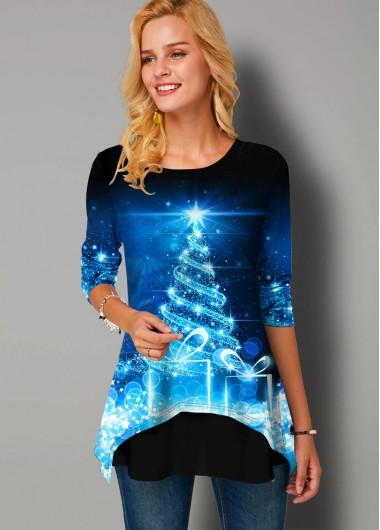 Christmas Print Round Neck Long Sleeve T Shirt - L