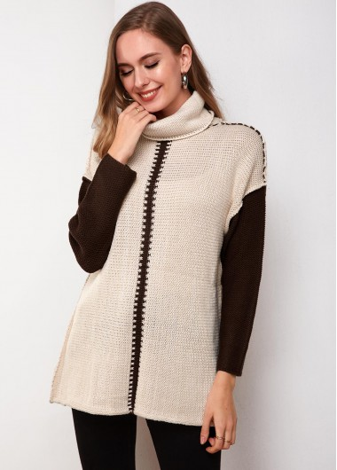 Turtleneck Contrast Panel Long Sleeve Sweater - M