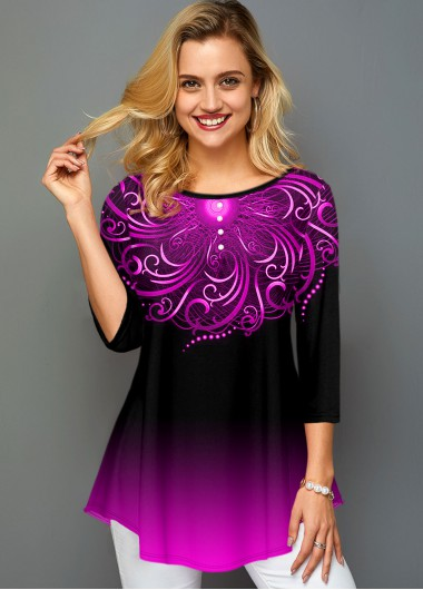 Ombre Round Neck Printed Three Quarter Sleeve T Shirt - L