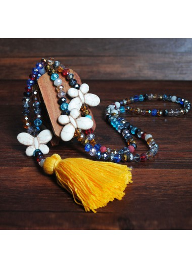 Yellow Tassel Bead Butterfly Design Necklace - One Size