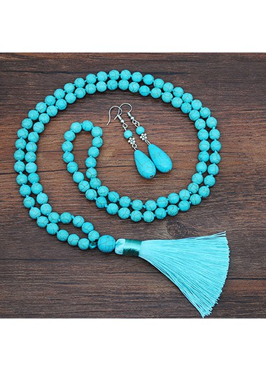 Turquoise Tassel Detail Necklace and Earring Set - One Size