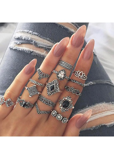 Silver Metal Geometric Design Ring Set - One Size