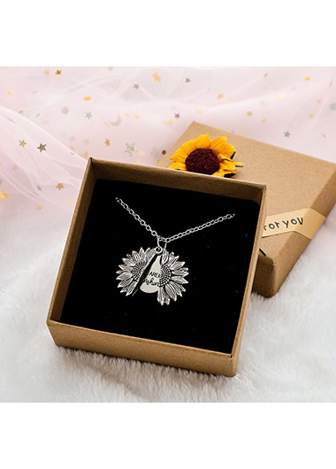 Sunflower Pendant Silver Metal Letter Necklace - One Size