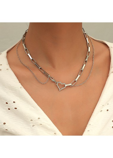 Layered Heart Design Silver Metal Necklace - One Size