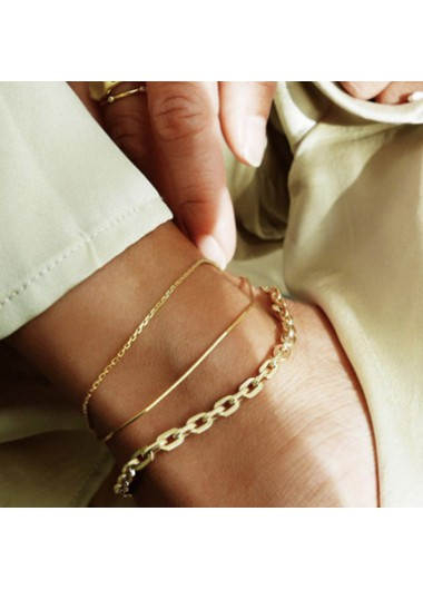 Gold Metal Chain Anklet Set for Women - One Size