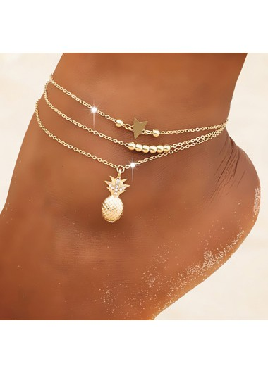 Pineapple and Star Gold Metal Anklet Set - One Size