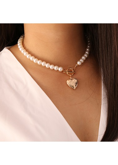 Heart Pendant Pearl Detail Silver Necklace - One Size