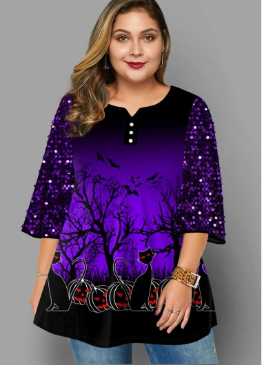 Plus Size Halloween Print Sequin T Shirt