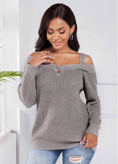 Cold Shoulder Long Sleeve Light Grey Sweater - L