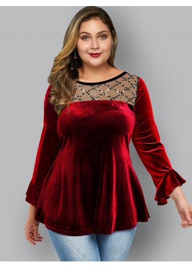 Plus Size Sequin Detail Round Neck T Shirt - 1X