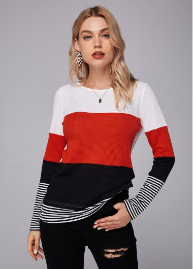 Contrast Long Sleeve Round Neck T Shirt - L