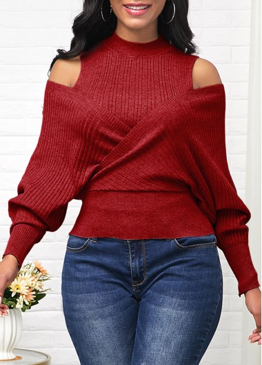 Wine Red Cold Shoulder Long Sleeve Sweater - L