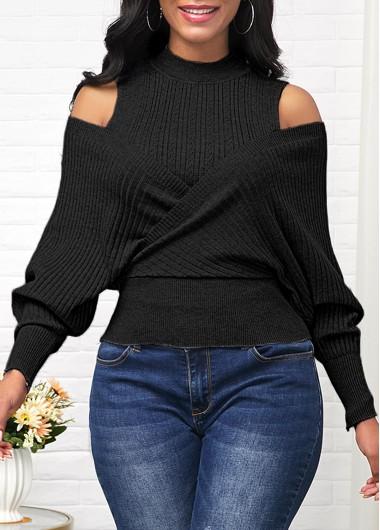 Cold Shoulder Long Sleeve Black Sweater - L