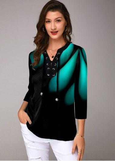 Modlily Printed Lace Up Three Quarter Sleeve Blouse - XS