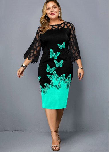Plus Size Butterfly Print Lace Panel Dress - 1X
