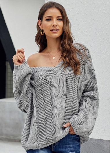 Cable Knit Long Sleeve V Neck Sweater - L