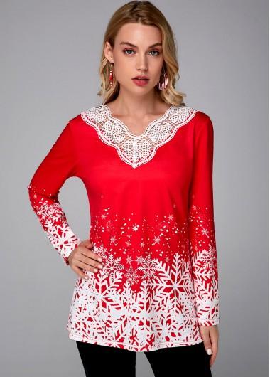 Christmas Print Long Sleeve Red Tunic Top - L