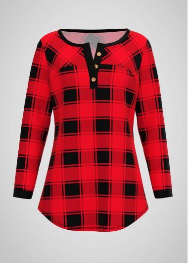 Plaid Print Long Sleeve Button Neck T Shirt - L
