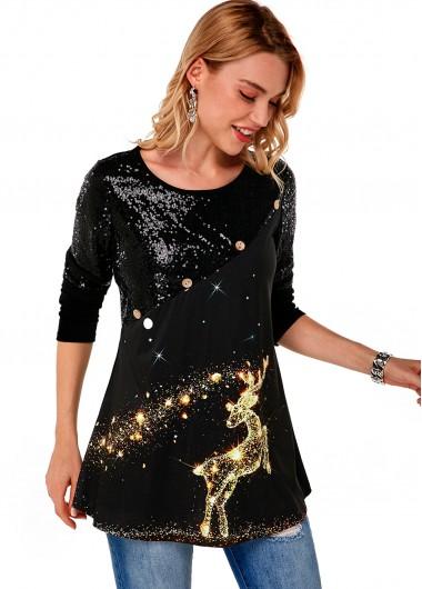 Sequin Christmas Print Long Sleeve T Shirt - L
